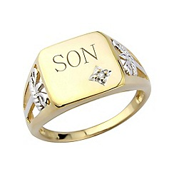 Love Story - Gents gold plated diamond- set, 'Son' ring