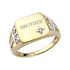 Love Story - Gents gold plated diamond-set, 'Brother' ring