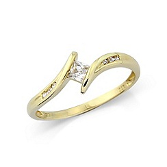 Love Story - 9ct yellow gold cz ring