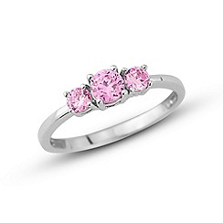 Love Story - Sterling silver pink cz ring