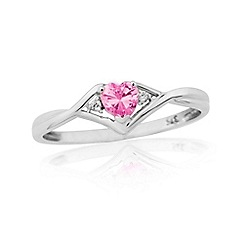 Love Story - 9ct white gold pink cubic zirconia set ladies dress ring