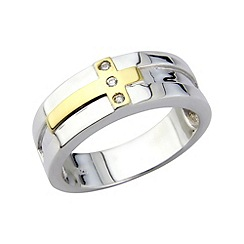 Love Story - Sterling silver & gold plated gents ring