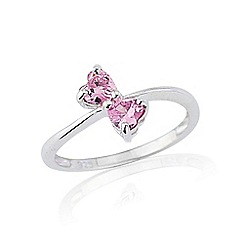 Love Story - Silver pink created sapphire ring