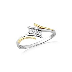 Love Story - Silver and 9ct gold stone set ring