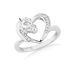Hoofprints - Silver ponyhead heart stone set ring