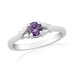 Precious Moments - Sterling silver purple cubic zirconia 'kiss' ring