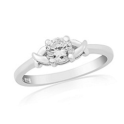 Precious Moments - Sterling silver white cubic zirconia 'kiss' ring