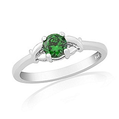 Precious Moments - Sterling silver dark green cubic zirconia 'kiss' ring