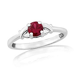 Precious Moments - Sterling silver created ruby 'kiss' ring