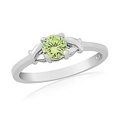 Precious Moments - Sterling silver green cubic zirconia 'kiss' ring