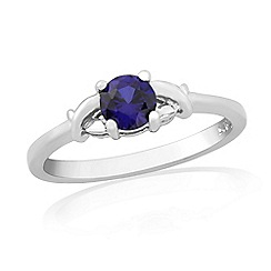 Precious Moments - Sterling silver created sapphire 'kiss' ring