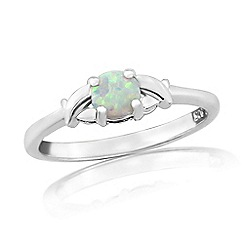 Precious Moments - Sterling silver created opal 'kiss' ring