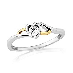 Love Story - Silver and 9ct gold stone set dress ring