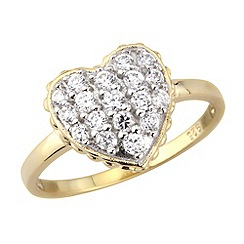 Love Story - Silver 9ct gold plated stone set dress ring