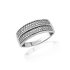 Love Story - 9ct white gold diamond set 'I love you' ring