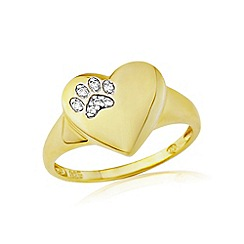 Precious Moments - 9ct gold plated on silver pawprint stone set ring