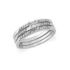 Love Story - Sterling Silver Cubic Zirconia 3 Part Dress Ring