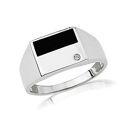 Love Story - Silver gents diamond onyx dress ring
