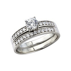 Love Story - Silver, platinum plated stone set 2 piece ring