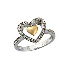 Love Story - Silver and 9ct rose gold stone set ring