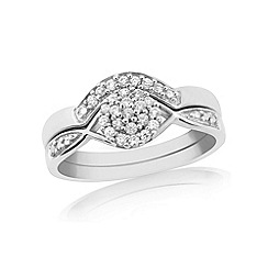 Love Story - 9ct white gold two part ladies diamond ring