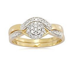 Love Story - 9ct Gold Diamond Ring Set.0.20ct