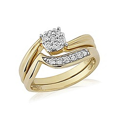 Love Story - Yellow Rhodium Overlay on Sterling Silver 2 Part Dress Ring