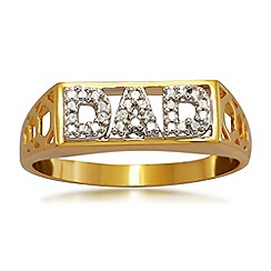 Precious Moments - Gold Plated on Silver 'Dad' Stone set Gents Dress Ring
