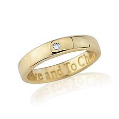 Precious Moments - 9ct gold diamond set 'to love and to cherish' ladies ring