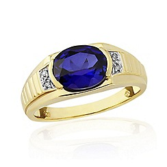 Love Story - 9ct Gold Plated On Silver Gents Stone Set Ring