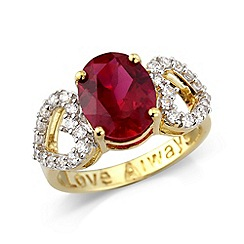 Love Story - Sterling silver ring with created ruby & cz