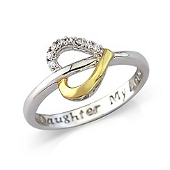 Precious Moments - Sterling silver & rhodium plated 'My Daughter, My Love' ring