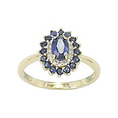 Precious Moments - 9ct Gold Sapphire and Diamond Ladies Cocktail Ring