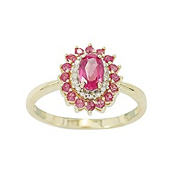 Precious Moments - 9ct Gold Ruby and Diamond Ladies Cocktail Ring