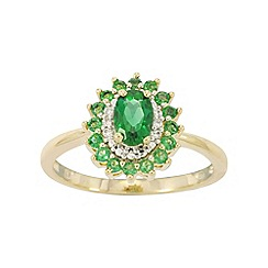 Precious Moments - 9ct Gold Emerald and Diamond Ladies Cocktail Ring