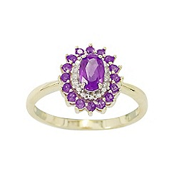 Precious Moments - 9ct Gold Amethyst and Diamond Ladies Cocktail Ring