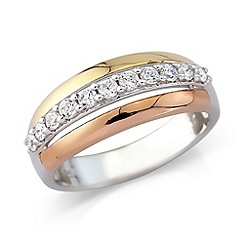 Love Story - 3 colour sterling silver cz ring