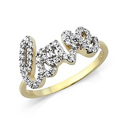 Love Story - Sterling silver 'Love' cz ring