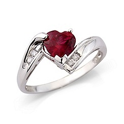 Love Story - Sterling silver created ruby & cz ring