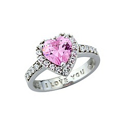 Precious Moments - Sterling silver heart shaped pink & white cz ring
