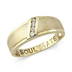 Precious Moments - Yellow gold plated silver gents 'Soulmate' ring