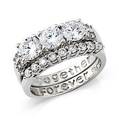 Precious Moments - 2 piece sterling silver cz ring set