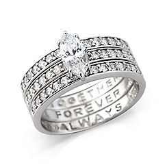 Love Story - Sterling silver cz 'Together, Forever, Always' ring