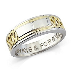 Precious Moments - Silver, yellow rhodium gents message ring