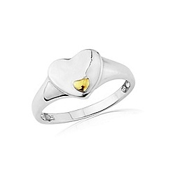 Love Story - Sterling silver & 9ct gold heart ring