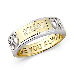 Precious Moments - Silver, 9ct gold plate 'mum' message ring