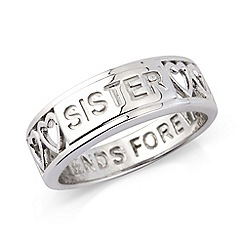 Precious Moments - Silver 'sister' message ring