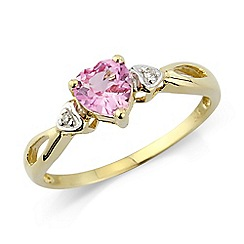 Love Story - 9ct gold, pink stone set dress ring