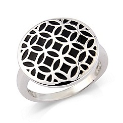 Love Story - Sterling silver & black enamel ring