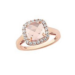 Love Story - 9ct Rose Gold Plated On Sterling Silver Quartz Dress Ring